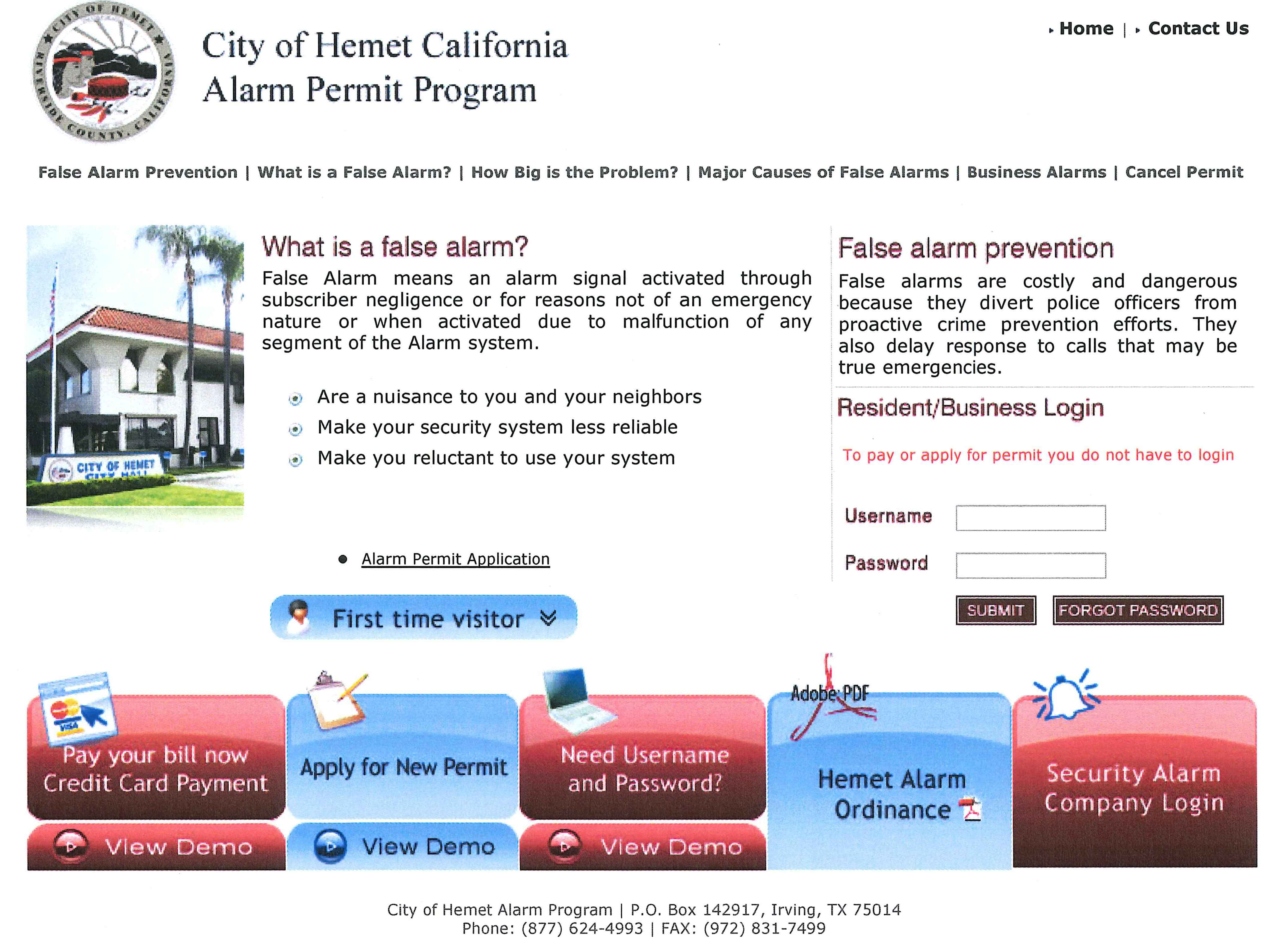Hemet Police Alarm Permits Opens in new window