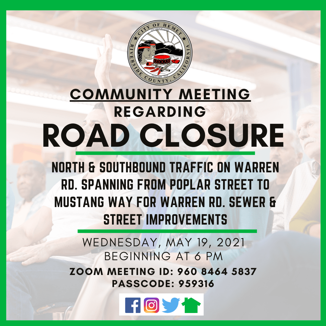 Notice of Community Meeting Warren Road Closure